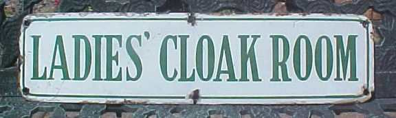 porcelain ladies cloak room enamel sign