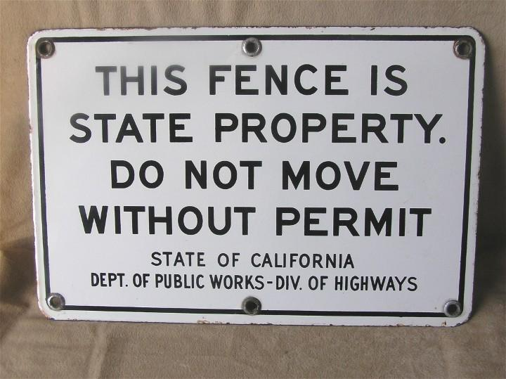 Porcelain California Public Works Enamel Sign