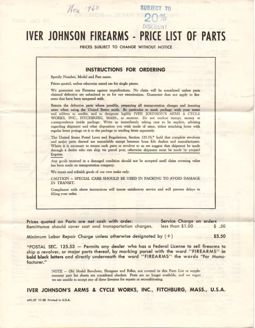 iver johnson 1958 parts price list