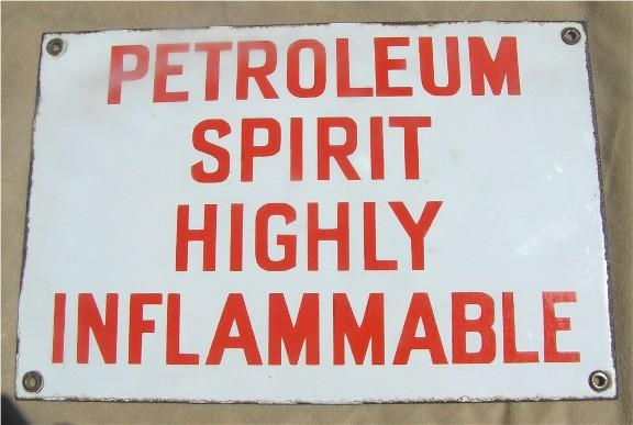 Porcelain petroleum enamel sign
