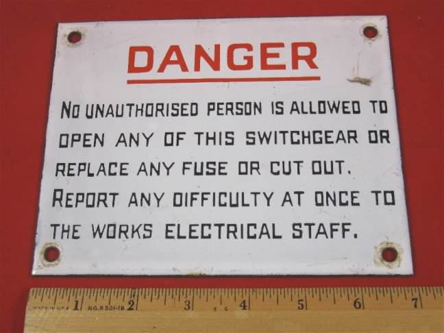 porcelain danger enamel sign